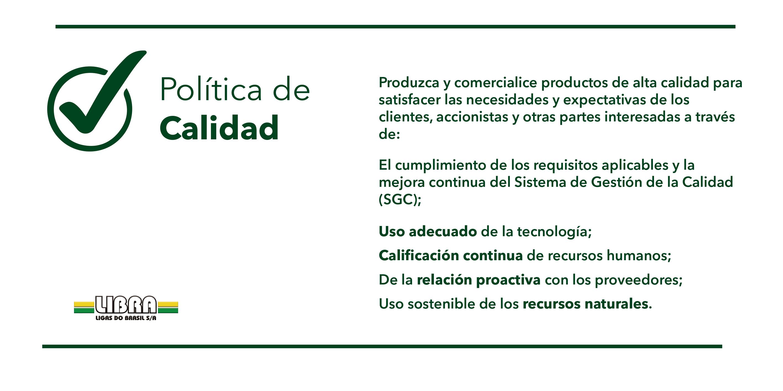 POLITICA DE QUALIDADE - LIBRA LIGAS-spanish